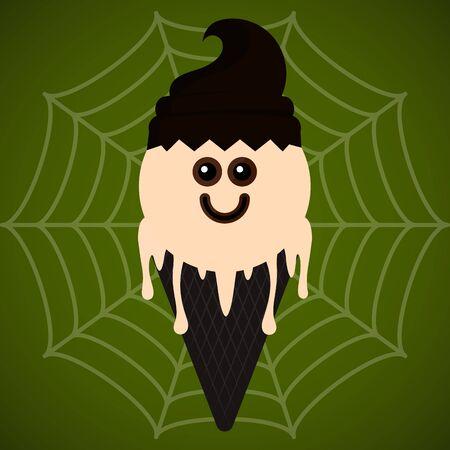 Monster shape ice cream cone. Halloween season - Vector illustration