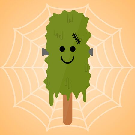 Monster shape ice cream  . Halloween season - Vector illustration Фото со стока - 133006062