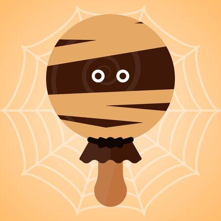 Monster shape ice cream  . Halloween season - Vector illustration Иллюстрация