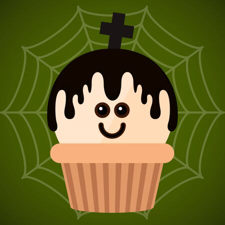 Halloween cupcake with a monster - Vector illustration