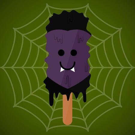 Monster shape ice cream  . Halloween season - Vector illustration Фото со стока - 133006113