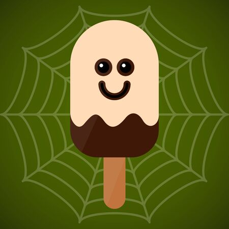 Monster shape ice cream  . Halloween season - Vector illustration Фото со стока - 133006175