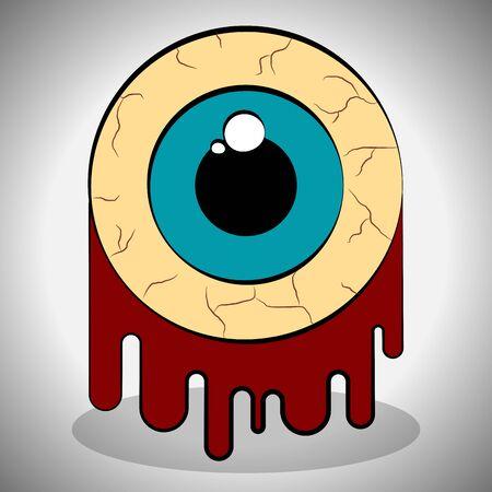 Dead eye with blood. Spooky halloween - Vector illustration