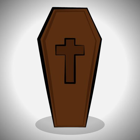 Dracula coffin image. Spooky halloween - Vector illustration Фото со стока - 133006181