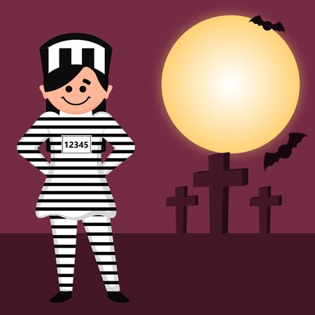 Prisoner character image. Halloween costume - Vector illustration