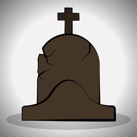 Scary tombstone image. Spooky halloween - Vector illustration