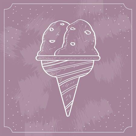 Vintage ice cream cone over a colored Иллюстрация
