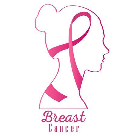 Affiche de cancer du sein avec un ruban de sensibilisation