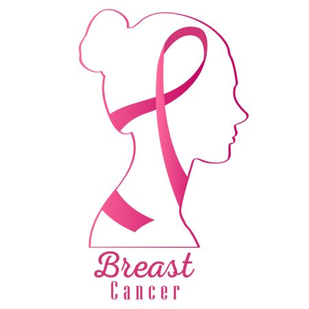 Breast cancer poster with an awareness ribbon