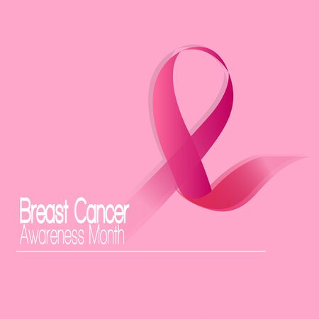 Breast cancer poster with an awareness ribbon - Vector illustration