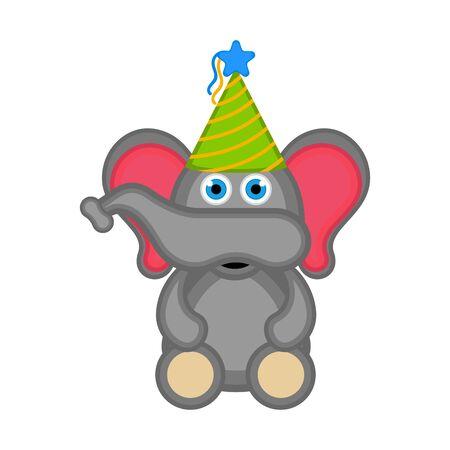 Cute elephant with a party hat icon. Vector illustration design Foto de archivo - 133619011