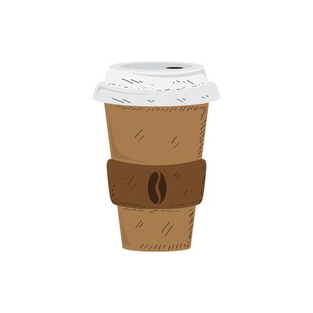 Isolated coffee cup image. Vintage style - Vector illustration