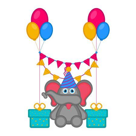 Cute elephant with a party hat and presents. Happy birthday. Vector illustration design Foto de archivo - 133619069