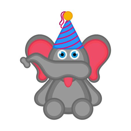 Cute elephant with a party hat icon. Vector illustration design Foto de archivo - 133619087