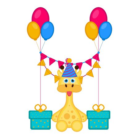 Cute giraffe with a party hat and presents