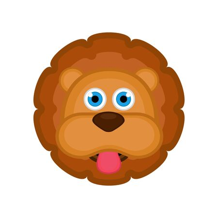 Isolated cute lion avatar on white
