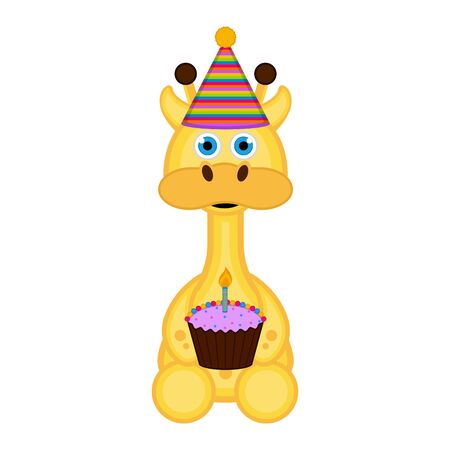 Giraffe with a party hat and a cake on white