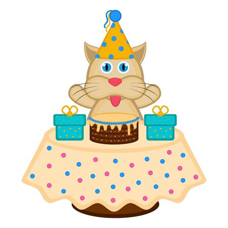 Cat with a party hat, a cake and presents