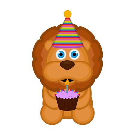 Cute lion with a party hat and a cake on white