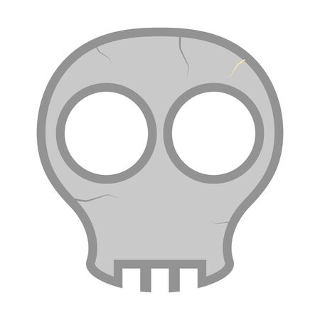 Comic skull head  on white
