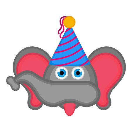 Elephant with a party hat on white Иллюстрация