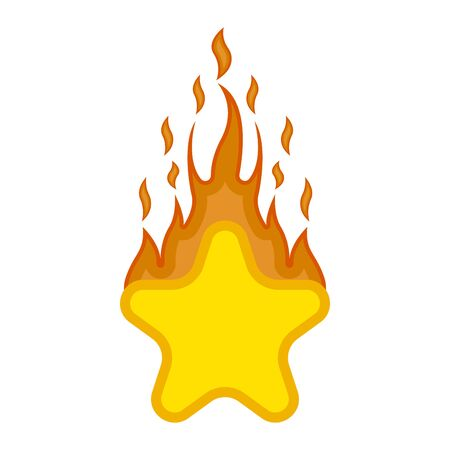 Comic star shape on fire icon.