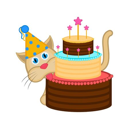 Cat with a party hat and a cake. Иллюстрация
