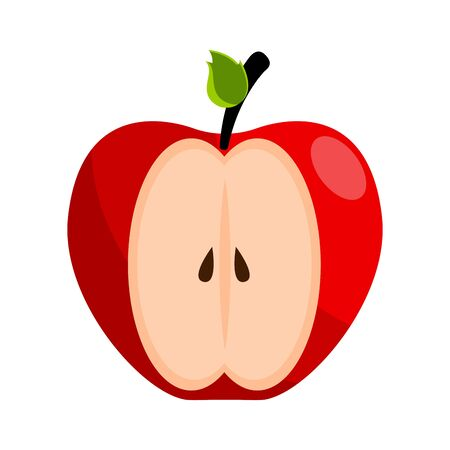 Isolated cut red apple on white