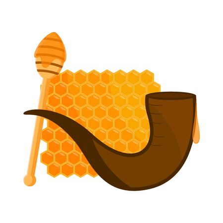 Honey hive and a shofar on white Иллюстрация