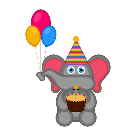 Elephant with a party hat and a cake. Ha