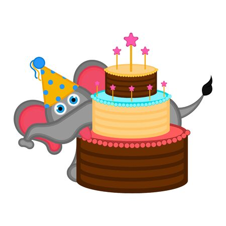 Elephant with a party hat and a cake