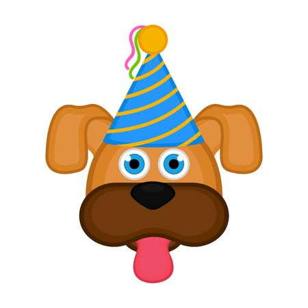 Dog with party hat on white Иллюстрация