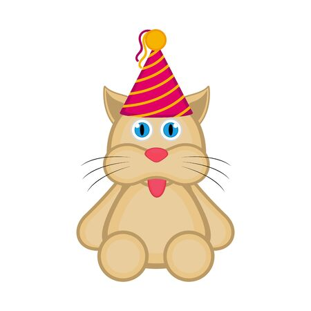 Cute cat with a party hat icon on white Illusztráció