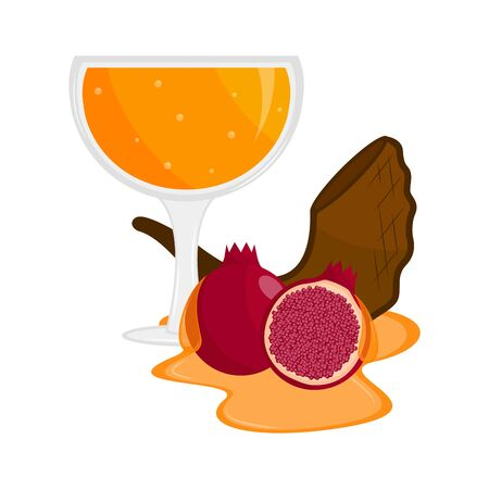 Honey glass with a shofar and a pomegranate