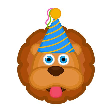 Cute lion with a party hat avatar on white Illustration