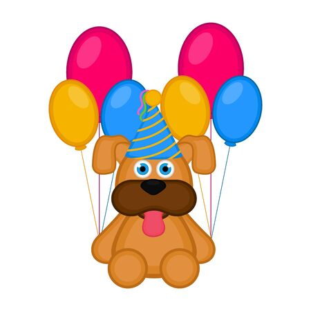 Cute dog with a party hat and balloons.
