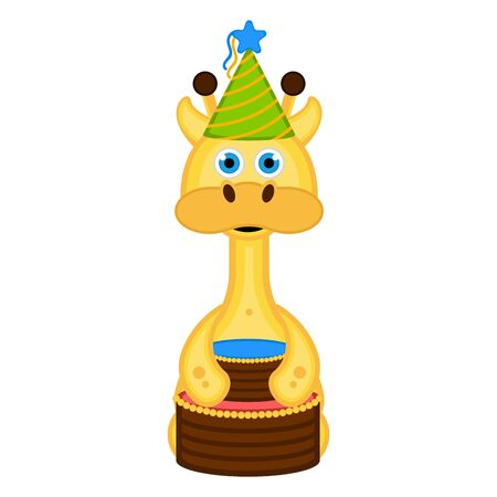 Cute giraffe with a party hat and a cake.