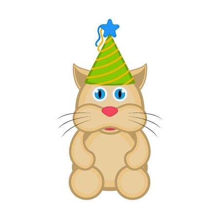 Cute cat with a party hat on white Illustration