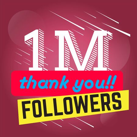 Thank you for reaching one million followers poster - Vector illustration