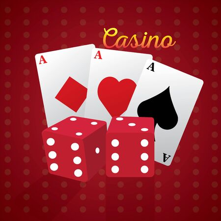Pair of dices and poker cards on a casino background - Vector illustration