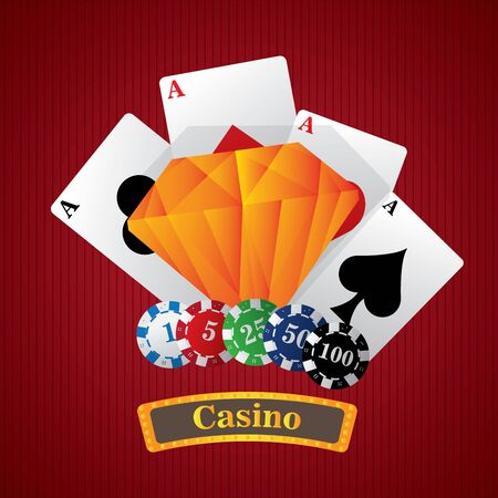 Poker chips and cards on a casino background - Vector illustration Иллюстрация