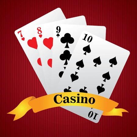 Poker cards on a casino background - Vector illustration
