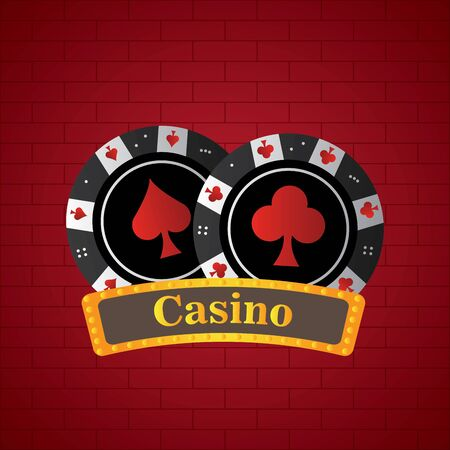 Poker chips on a casino background - Vector illustration
