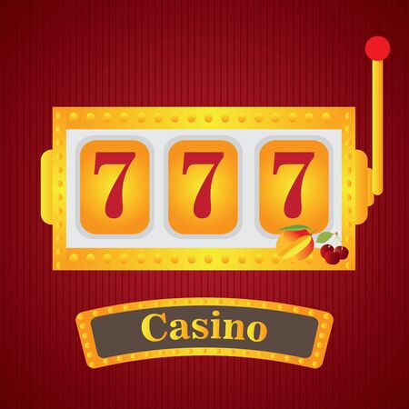 Jackpot machine on a casino background - Vector illustration Иллюстрация