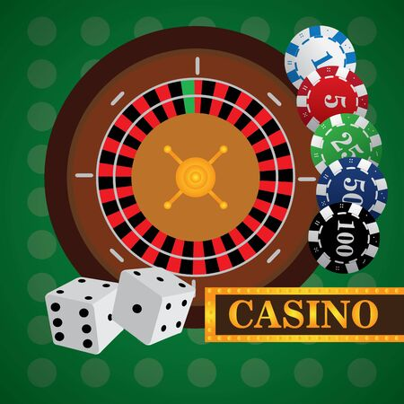 Roulette with poker chips and dices on a casino background - Vector illustration