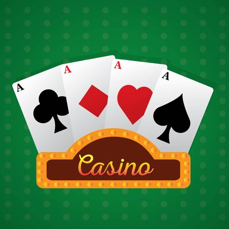 Blackjack cards on a casino background - Vector illustration