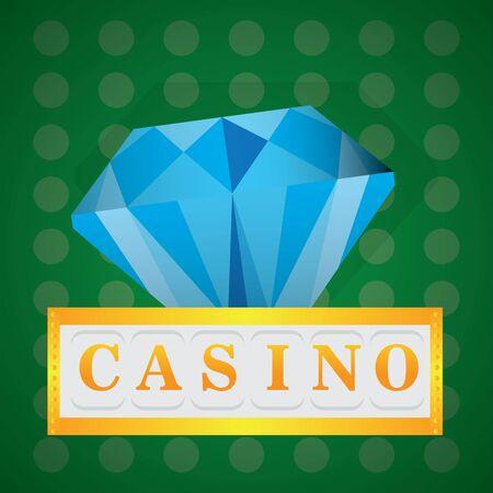 Blue diamond on a casino background - Vector illustration Иллюстрация