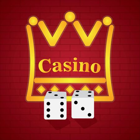 Pair of dices on a casino background - Vector illustration