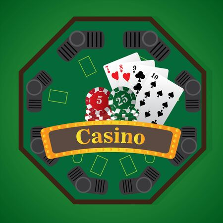 Jackpot board with cards and poker chips - Vector illustration