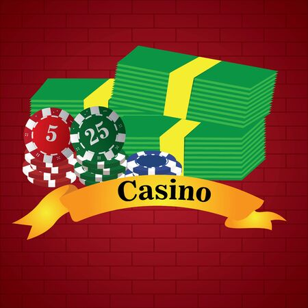Poker chips and bills on a casino background - Vector illustration